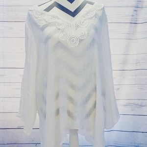 Spence Tunic Size 1X White 3/4 Bell Sleeve Hi-Lo